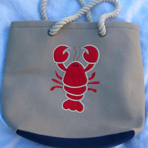 Lobster n Whale Canvas Beach Travel Tote Bag Rope
